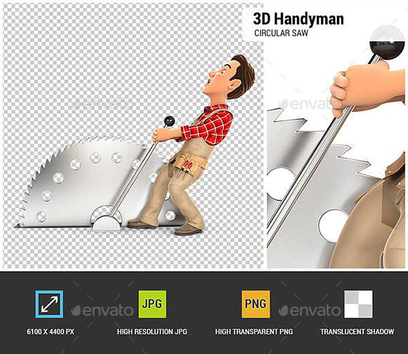 3D Handyman Activating Circular Saw - Characters 3D Renders