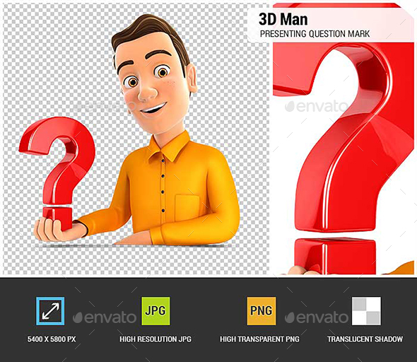 3D Man Presenting Question Mark - Characters 3D Renders
