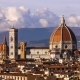 Beautiful Views of Florence and Cathedral Santa Maria Del Fiore, Evening, Florence, Italy. Clouds