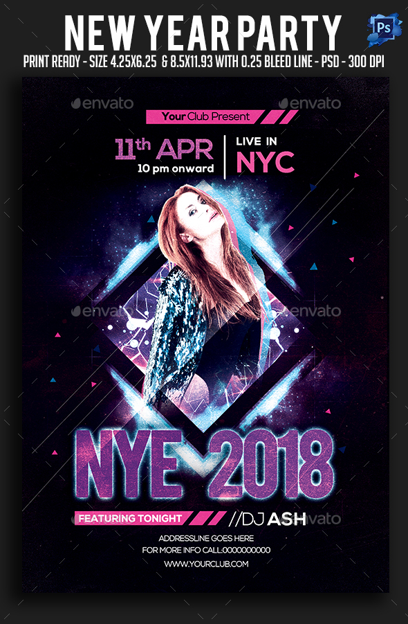 GraphicRiver New Year Party Flyer 21016974