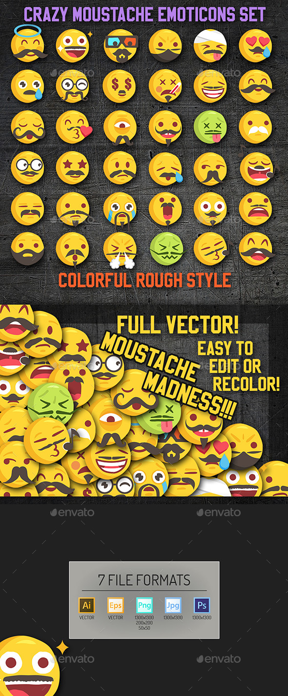 Vector Emoji Moustache Set - Decorative Symbols Decorative