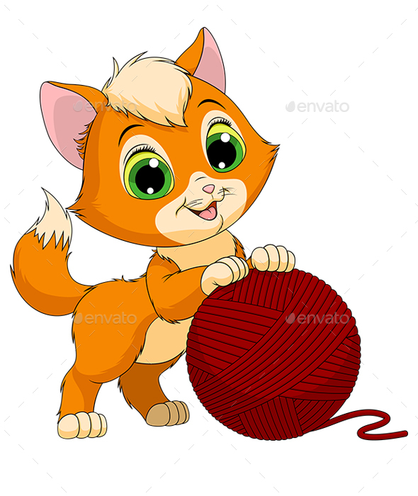 GraphicRiver Kitten with a Ball of Threads 21017176