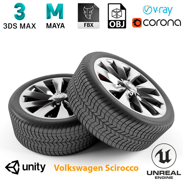 Volkswagen Scirocco Wheel - 3DOcean Item for Sale