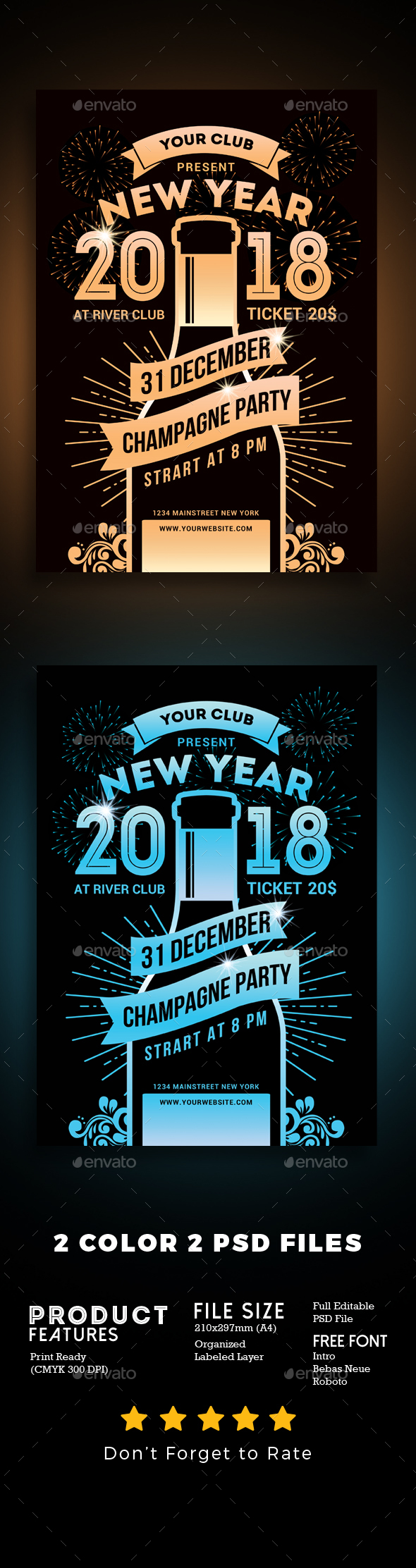 New Year Champagne Party Flyer - Events Flyers