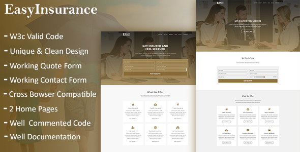 EasyInsurance - Insurance Company Website Templates