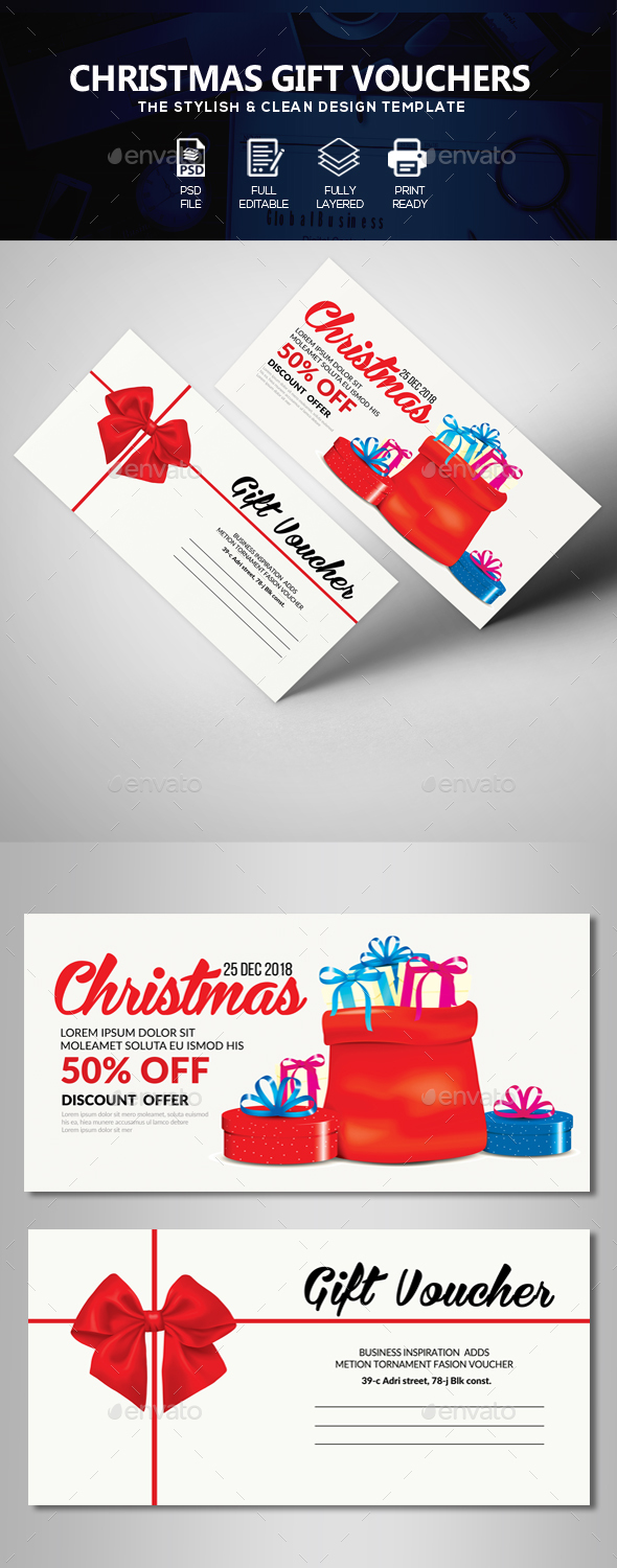 Marry Christmas Gift Voucher - Cards & Invites Print Templates