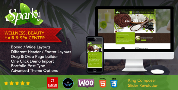 ThemeForest Sparky Multipurpose Spa & Beauty WordPress Theme 20694330