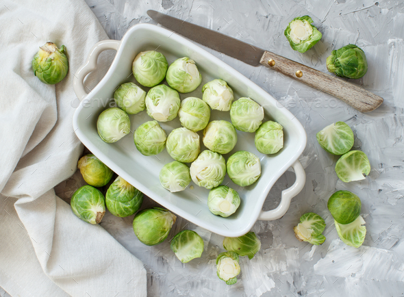 Brussels sprouts  in a casserole - Stock Photo - Images