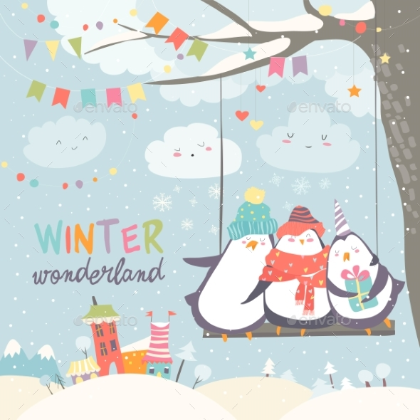 GraphicRiver Happy Penguins Swinging in Winter Park 21017609
