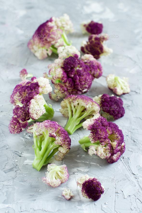 Fresh raw purple cauliflower - Stock Photo - Images