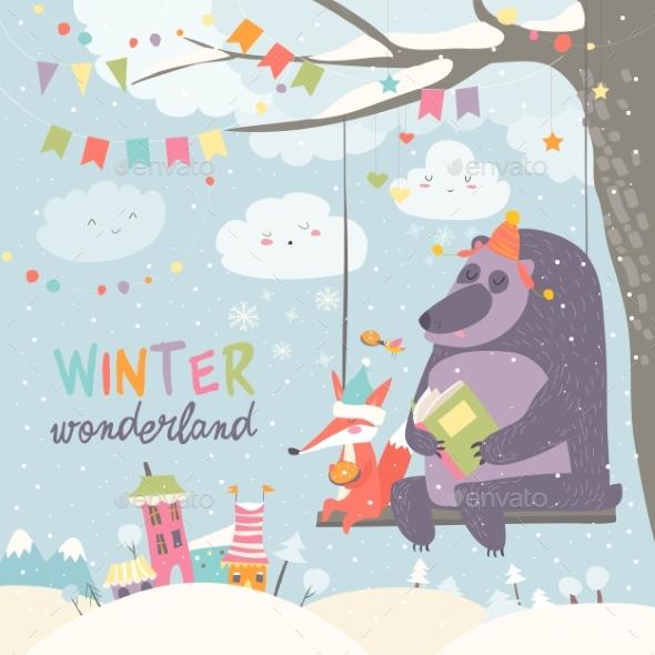 Bear and Fox Swinging in Winter Park - Seasons Nature