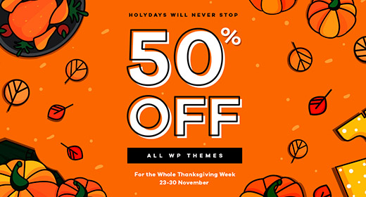 50% Off Thanksgiving Sale 23-30 November