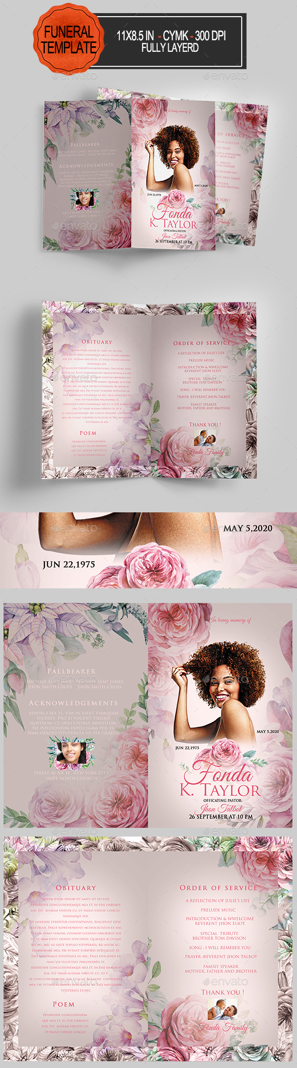 GraphicRiver Funeral Program Template 21017817