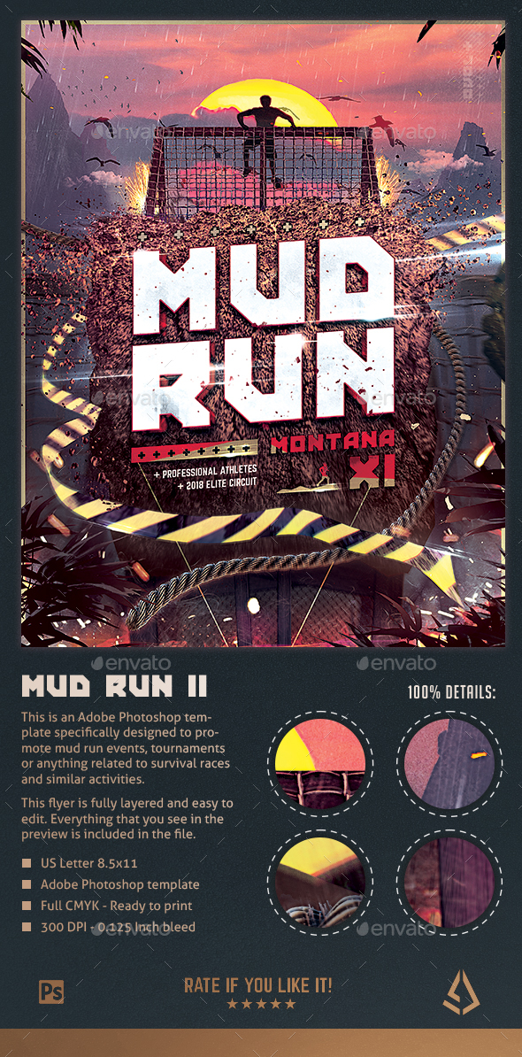 Mud Run Flyer II - Obstacle Race Template - Sports Events