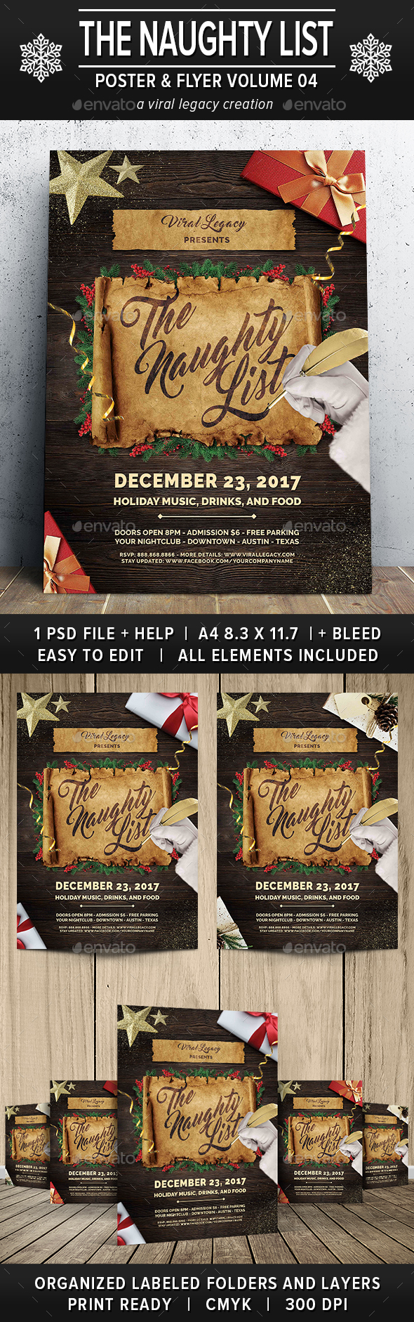The Naughty List Poster / Flyer V04 - Flyers Print Templates