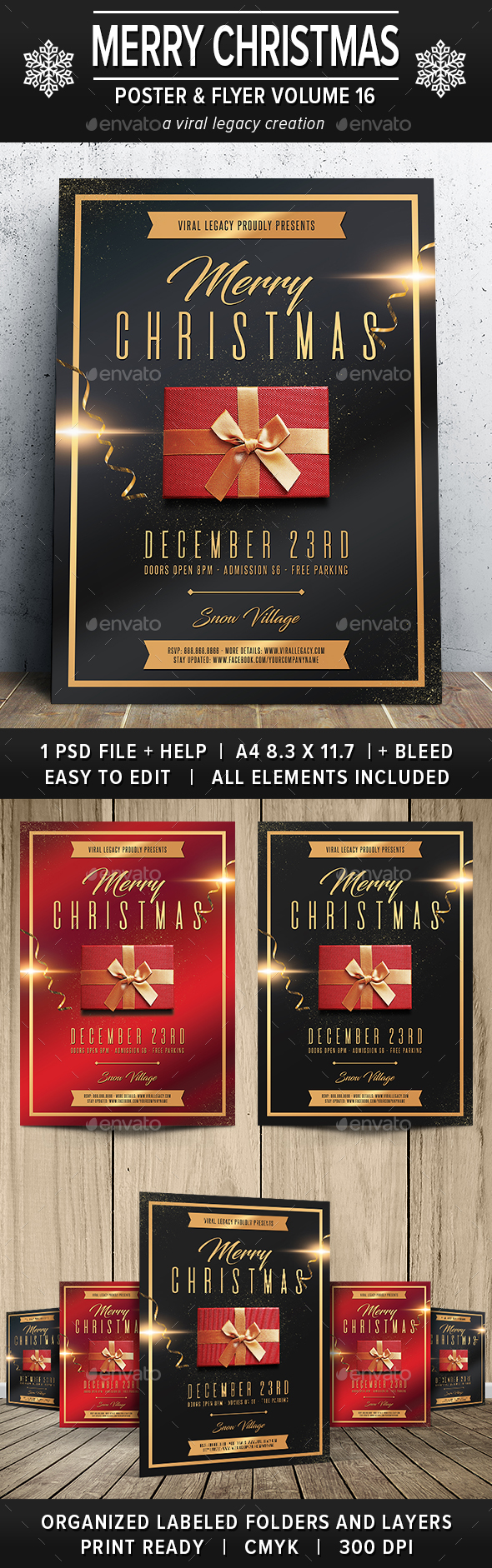 GraphicRiver Merry Christmas Poster Flyer V16 21017990