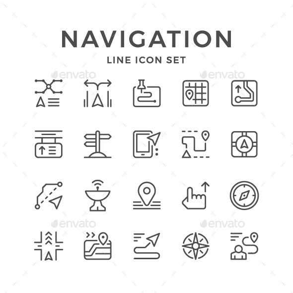 GraphicRiver Set Line Icons of Navigation 21018068