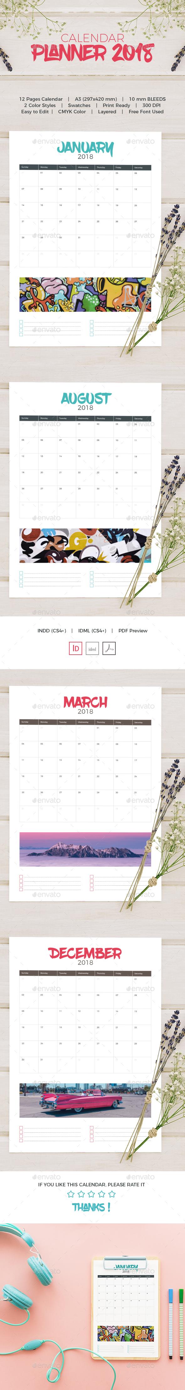 Calendar Planner 2018 - Calendars Stationery