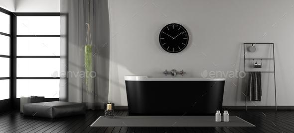 Modern bathroom with black bathtub - Stock Photo - Images
