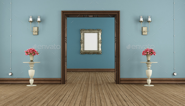 Blue classic room - Stock Photo - Images