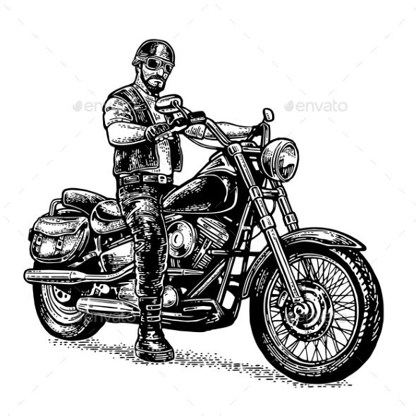 Biker Riding a Motorcycle - Miscellaneous Vectors