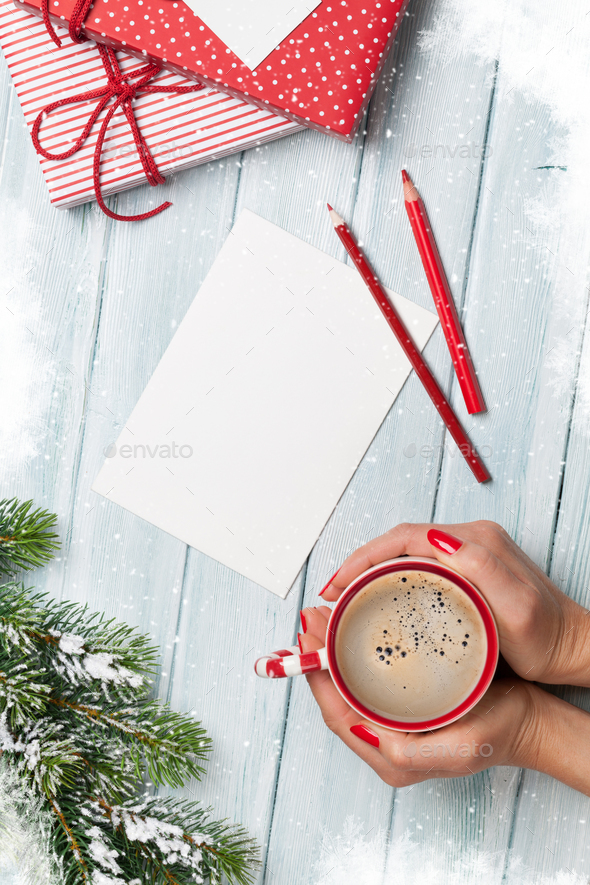 Christmas greeting card and gift boxes - Stock Photo - Images