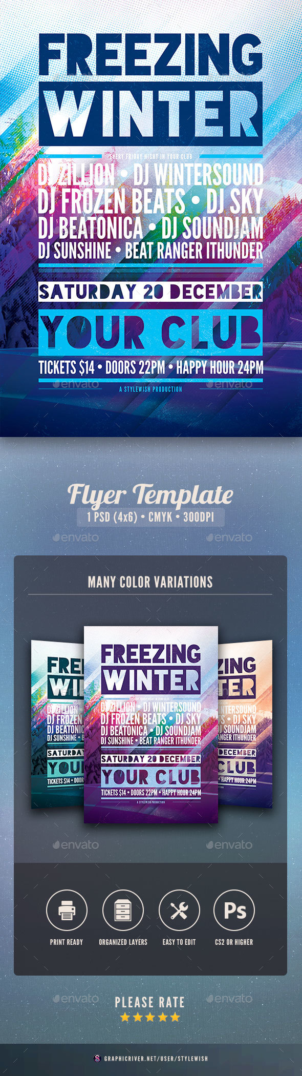 Freezing Winter Flyer - Clubs & Parties Events