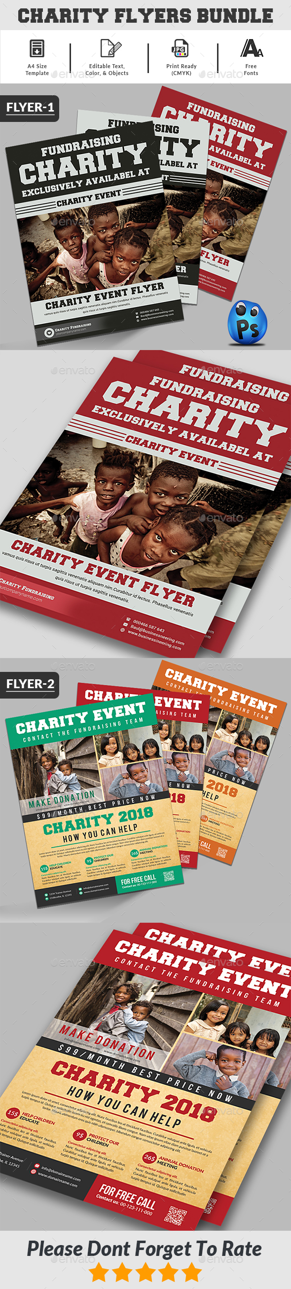 GraphicRiver Charity Fundraising Flyers Bundle 21018485