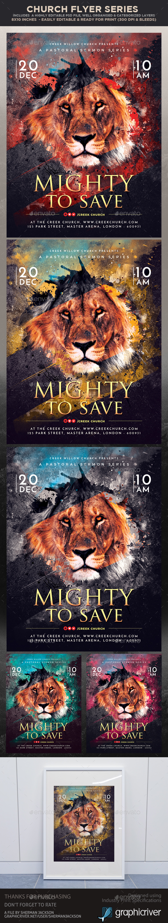 Church Themed Event Flyer - Mighty to Save - Church Flyers