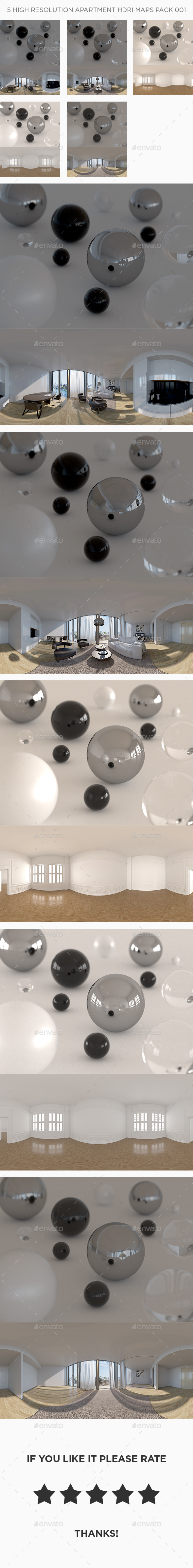 5 High Resolution Apartment HDRi Maps Pack 001 - 3DOcean Item for Sale