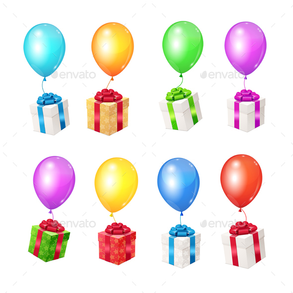 GraphicRiver Color Balloons and Present Boxes 21018577