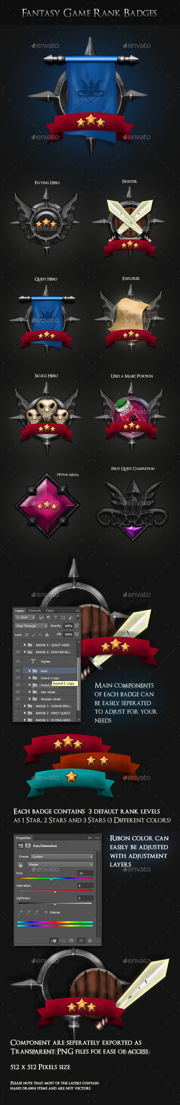 GraphicRiver Fantasy Game Badges With Ranks 21018633