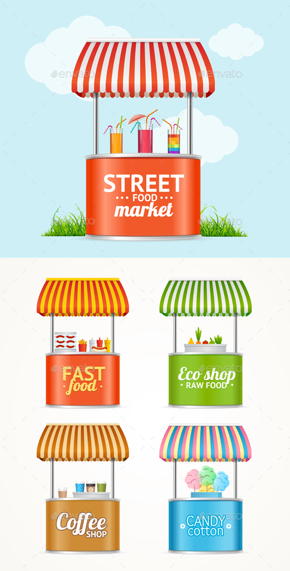 GraphicRiver Street Fast Food Market Stall Set 21018635
