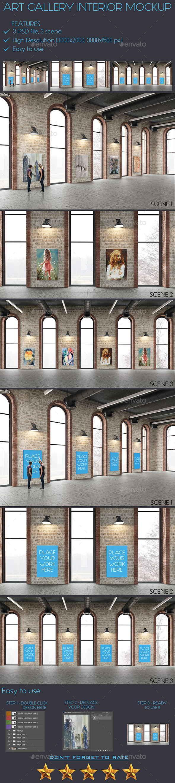 GraphicRiver Art Gallery Interior Painting Mockup 21018685