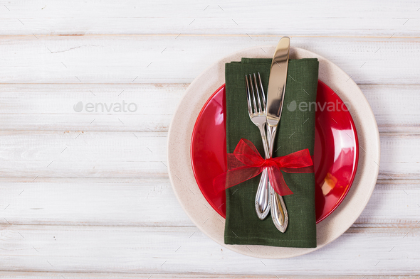 Christmas table setting with christmas decorations,. Top view, copyspace. - Stock Photo - Images