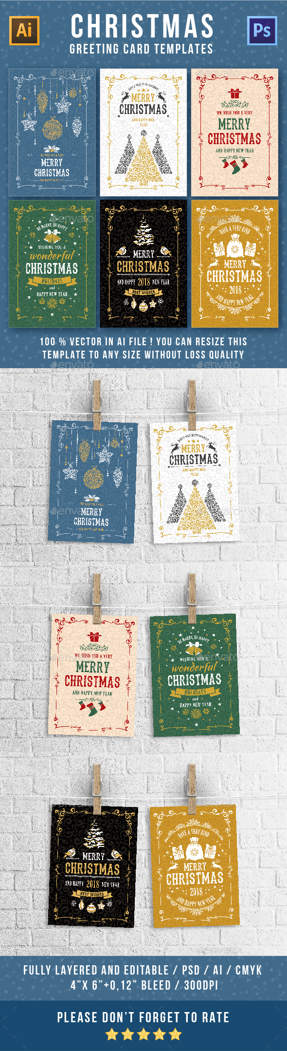GraphicRiver Christmas Greeting Cards Templates Set 21018951