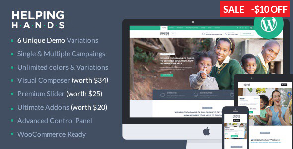 Charity WordPress Theme - Fundraising, Church, NGO, Non Profit | HelpingHands - Charity Nonprofit