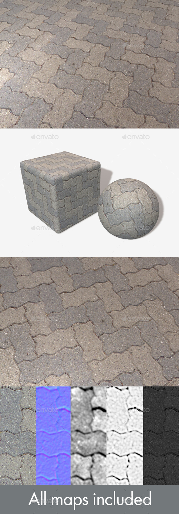 Zig Zag Brick Pavement Seamless Texture - 3DOcean Item for Sale