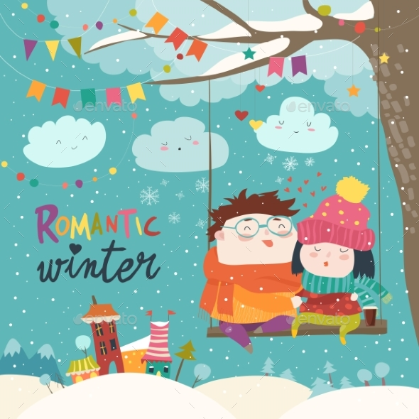 GraphicRiver Winter Cartoon Couple Swinging 21019104
