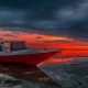 Dramatic Red Sunset with Silhouette of  Fisher Boat Near Gili Air Island, Lombok. Indonesia - VideoHive Item for Sale