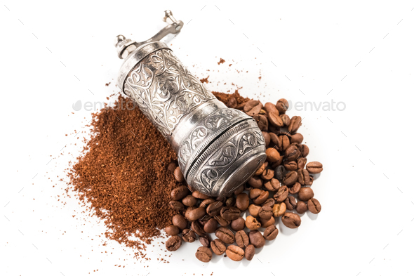 Coffee and grinder on white background - Stock Photo - Images