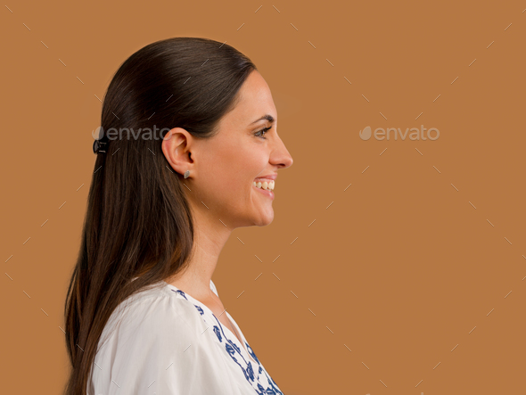 Beautiful woman smiling - Stock Photo - Images