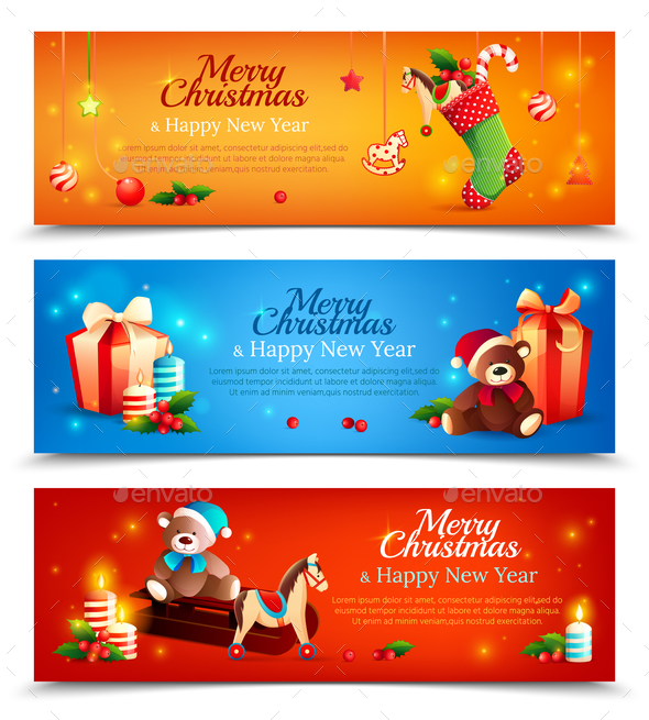 New Year Cartoon Horizontal Banners - Christmas Seasons/Holidays
