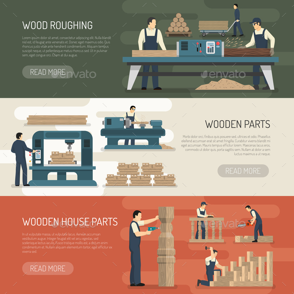 GraphicRiver Wood Roughing Horizontal Banners 21019356