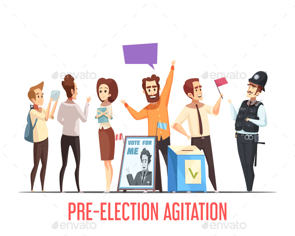 Politics Pre-Election Cartoon Composition - People Characters