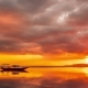 Boat on the Sea at the Orange Sunset of Gili Meno, Indonesia - VideoHive Item for Sale
