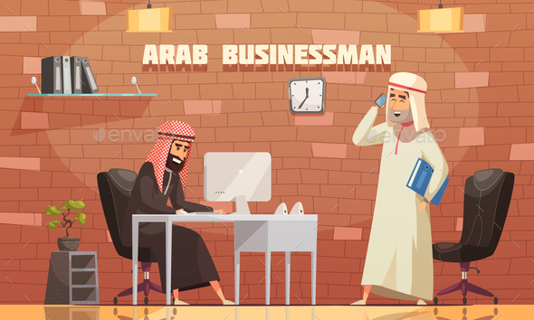 GraphicRiver Arab Businessman Office Cartoon Illustration 21019360