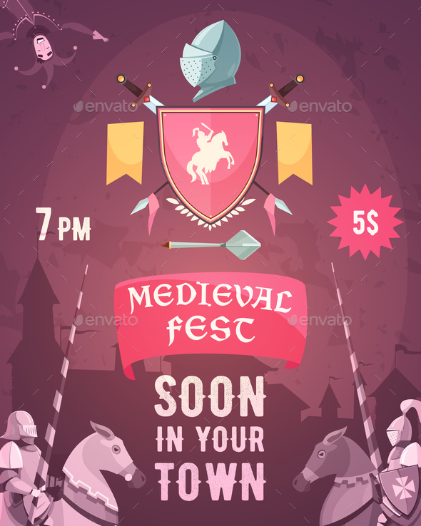 GraphicRiver Medieval Fest Announcement Cartoon Poster 21019365