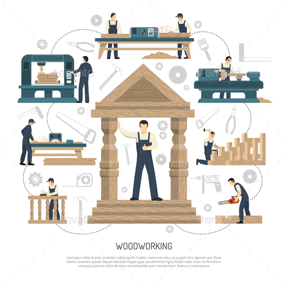 Woodworking People Background Composition - Industries Business