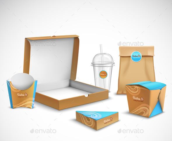 GraphicRiver Packaging Fast Food Realistic Set 21019370